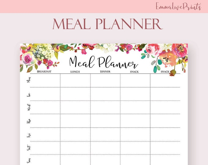 Meal Planner Printable Boho Weekly Botanical Menu Plan Weekly Planner Pink Floral Menu Planning A4, A5 letter Size Big Happy Planner Inserts