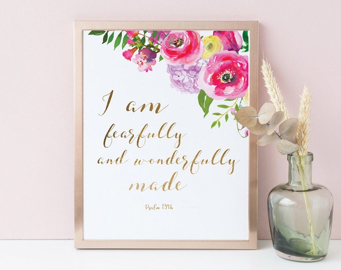I am Fearfully and Wonderfully Made, Bible Verse Prints, Scripture Wall Art psalm 139 SA-1