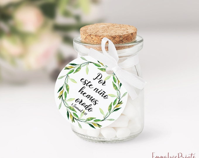 Baby Shower Favor Tags Round Favor Tags Printable Bible Favors Green Wreath Gift Tags Thank You Tags Birthday Spanish Favor
