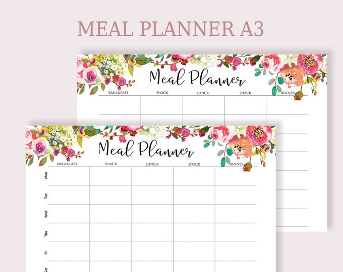 Weekly Meal Planner Printable, Meal Planning, Menu Plan, Menu Planning, Planner A3,