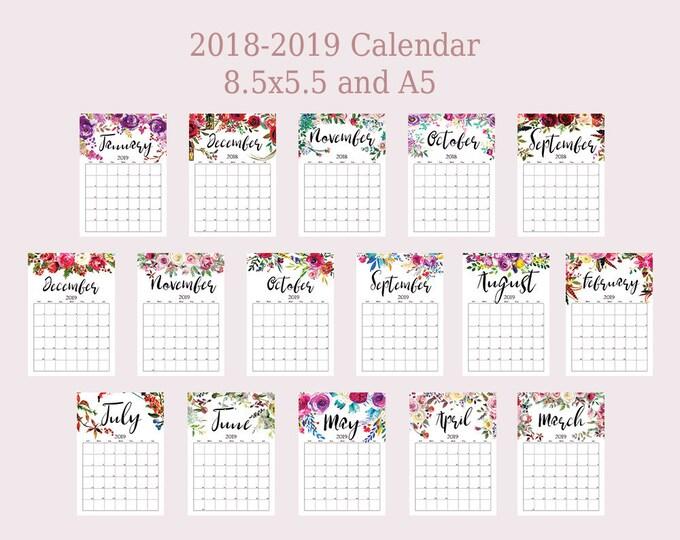 A5 Planner Inserts Printable Calendar 2018 2019 Monthly Planner Wall Calendar 2019 PDF filofax a5 Monthly Agenda Planner Botanical Floral