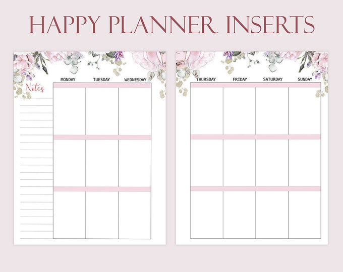 Weekly Insert Made to Fit Happy Planner Printable Inserts Floral Planner Weekly Agenda Classic Happy Planner Refills Instant Download