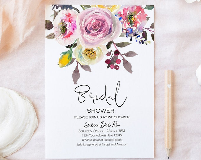 Bridal Shower Invitation Template Editable Bridal Shower Invite Digital Download Save the Date Floral Boho Invitation Personalized PDF