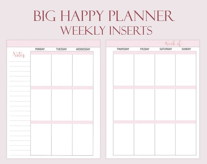Weekly Planner Pages, made to fit Big Happy Planner Inserts.
