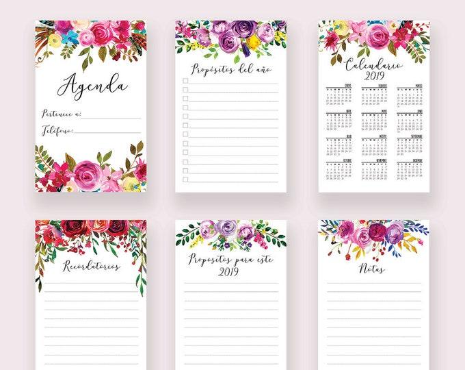Planner Inserts Printable Calendario 2019 Calendar 2019 Monthly Planner 2019 Wall Calendar 2019 Agenda 2019 Planner Floral Spanish Printable