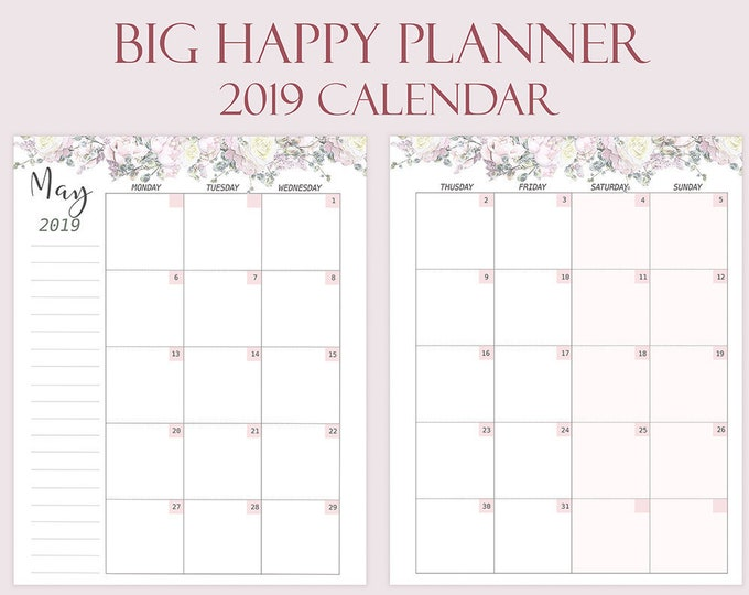 Monthly Planner 2019 for Big Happy Planner Inserts Mambi Happy Planner Floral Art 2019 Printable planner 2018 planner rose gold
