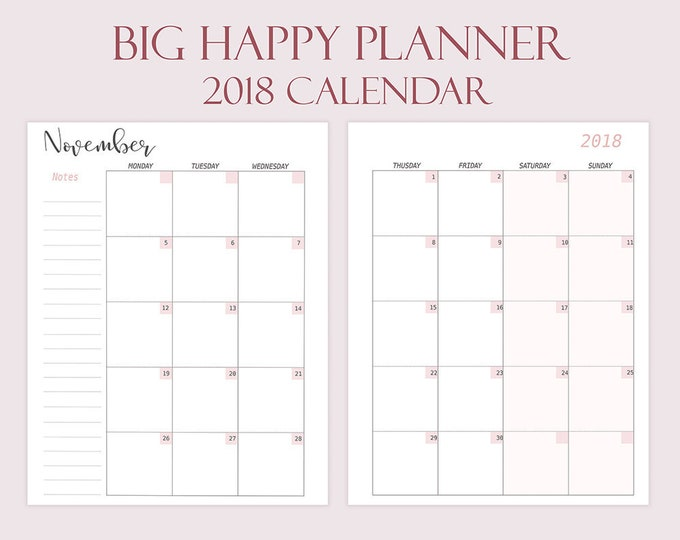 Big Happy Planner Inserts 2018 Monthly Calendar 2018 Printable 8.5x11 Mambi Planner Dated Big Happy Planner Refills Monthly Instant Download