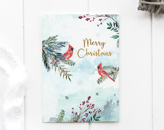 Christmas Card Printable Religious, Woodland Animal Card, Forest Animals Art