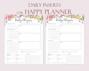 Daily Planner Printable For Happy Planner Inserts Daily Schedule Floral Agenda 2020 Planner Botanical Printable
