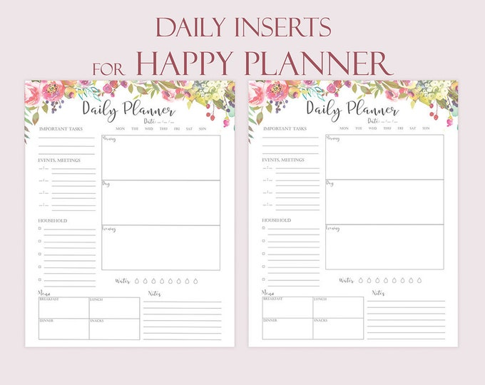 Daily Planner Printable For Happy Planner Inserts Daily Schedule Floral Agenda 2019 Planner Botanical Printable