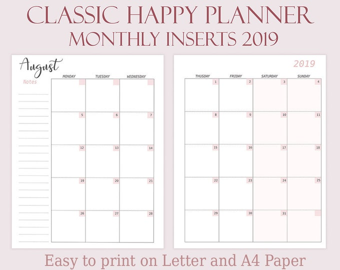 Happy Planner Printable Inserts 2019 Monthly Calendar 2019 7x9.25 Mambi Happy Planner Dated Monthly Planner 2019 Refills Instant Download