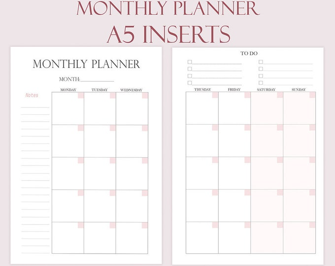 A5 Planner Inserts Monthly Planner Monthly Schedule Planner Refill Planner Pages Month Planner 2018 To Do List Insert for Filofax Printable