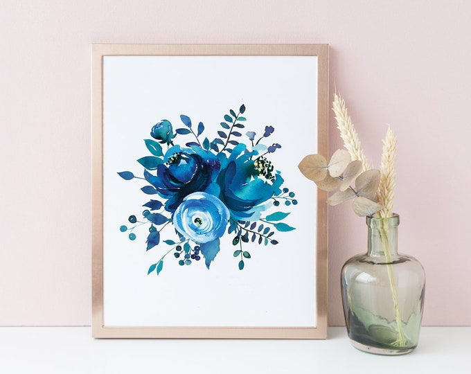 Indigo Printable, Navy Blue Digital Wall Art, Watercolour Art, Indigo Print, Botanical Poster Botanical Wall Art Wall Decor Instant Download