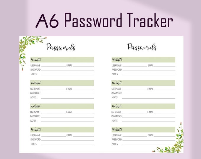 Password Keeper, A6 Planner Inserts, A6 TN Inserts