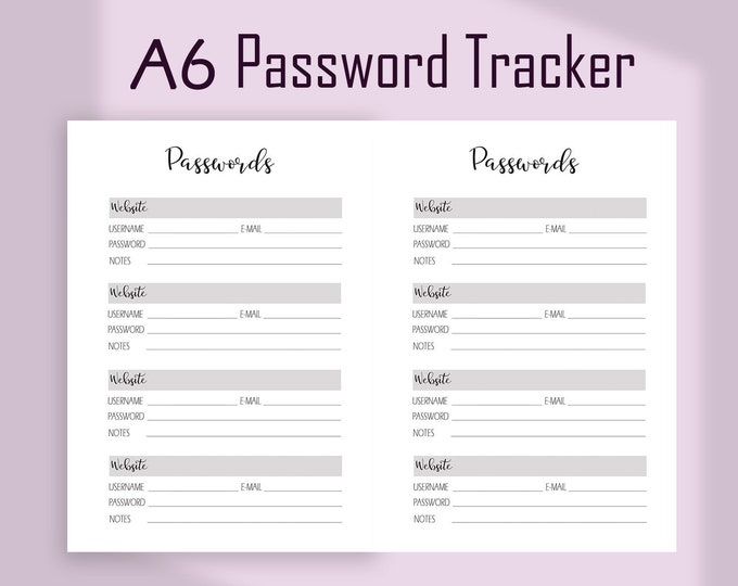 Password Organizer, A6 Planner Inserts, A6 TN Inserts,