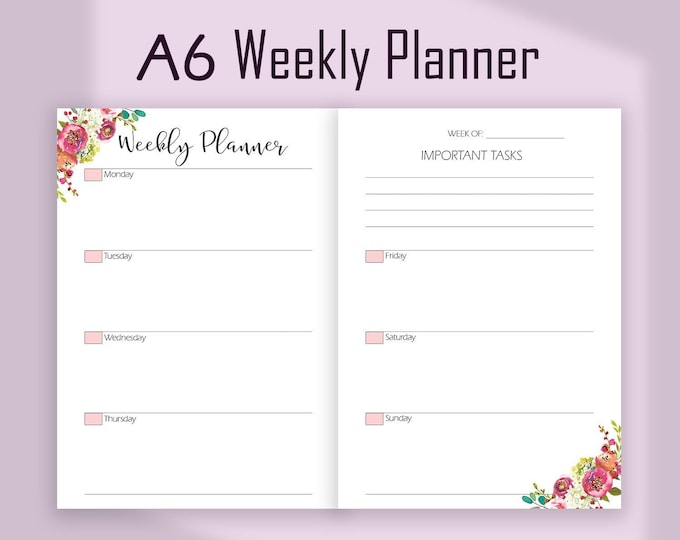 A6 Planner Inserts, A6 TN Inserts, Weekly Planner Pages, wo2p