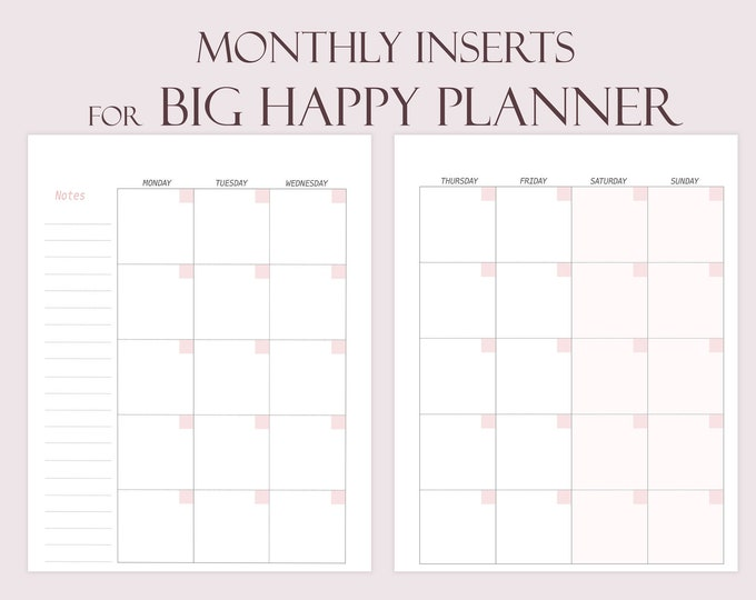Monthly Planner Pages, Mo2P Big Happy Planner Inserts, Big Happy Planner Refills, big happy Monthly Refills