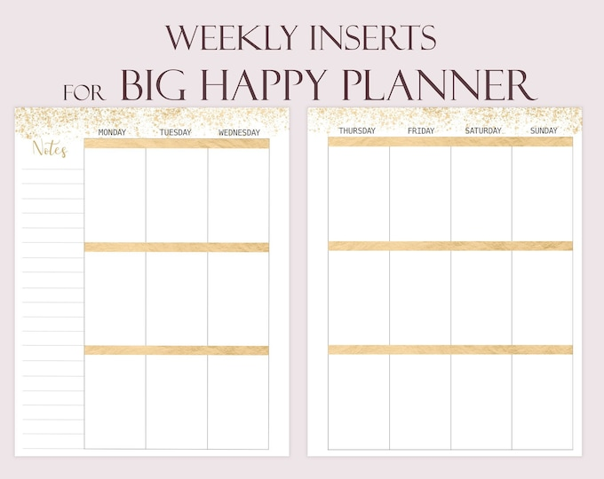 Big Happy Planner Inserts, Big Happy Planner Refills, Weekly Planner Pages, Weekly Agenda