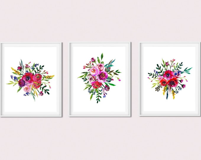 Set of 3 Art Prints, Spring Wall Art Printable Floral Print Set, Lavender Print, Botanical Print,