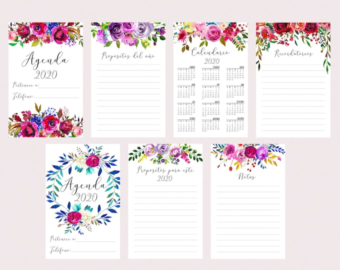 Monthly Planner 2020 Agenda Planner Floral Spanish Printable, A5 Planner Inserts