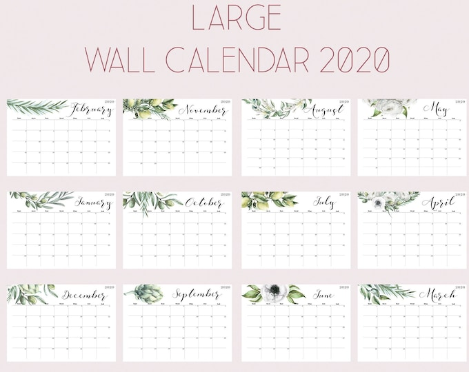 Botanical Wall Calendar, Watercolour Calendar 2020, Wall Planner 2020 OL-1