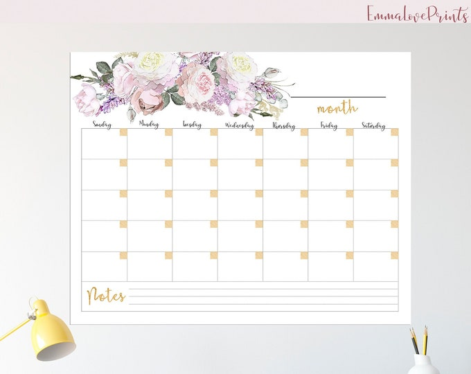 Large Wall Calendar 2019, Boho calendar 2019, Botanical calendar, Rose Gold Calendar  RG-1