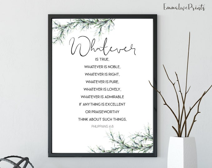 Philippians 4:8, Botanical poster printable, Easter Wall Art, Bible Verse Prints, Botanical Print, Scripture Prints