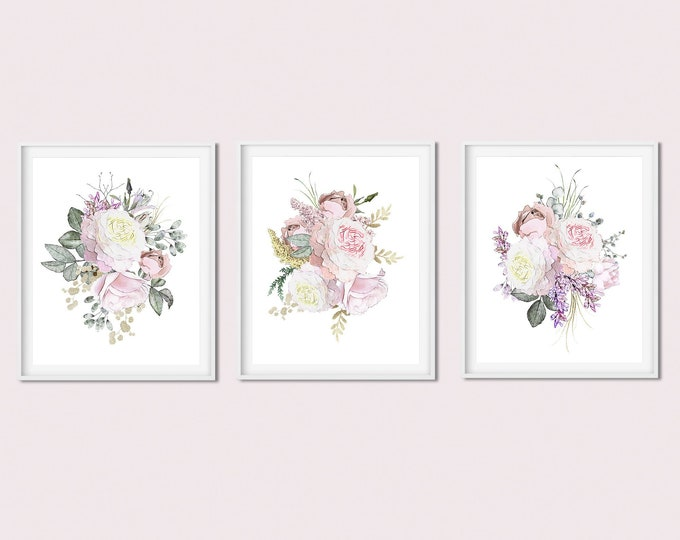 Set of 3 Art Prints, Floral Print Set, Rose Gold Print, Botanical Print