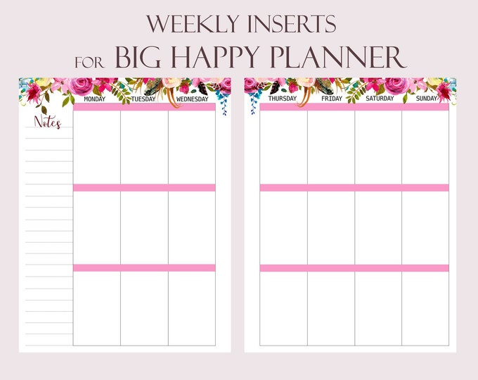 Weekly Planner Pages Printable To Do list made to fit Big Happy Planner Inserts Printable Weekly Agenda