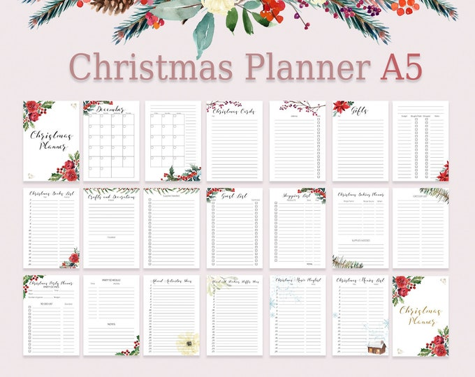 Christmas Planner Kit, Christmas Organizer, A5 Filofax Inserts