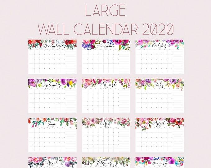 Large Wall Calendar 2020, Watercolor Calendar, A3 Calendar, desk calendar pad