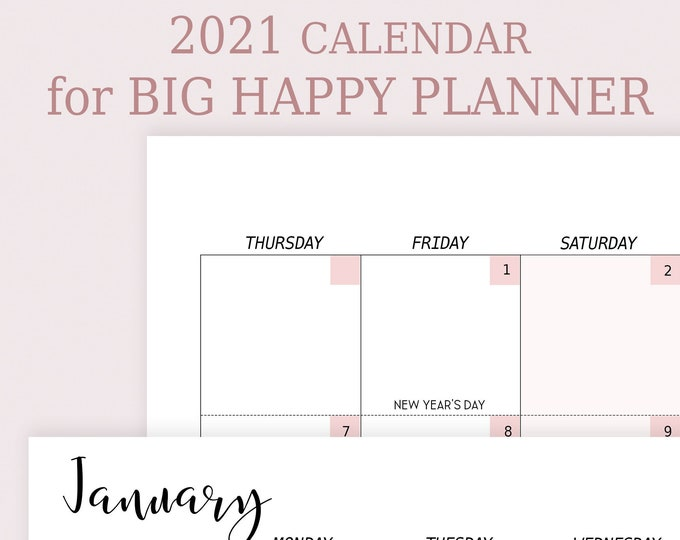 Monthly planner 2021 Made to fit Big Happy Planner Inserts 2021 Planner