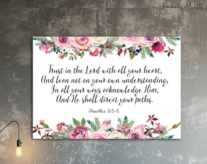 Trust In The Lord With All Your Heart, Proverbs 3 5, Bible Verse Prints, Scripture Prints Watercolor Print Landscape