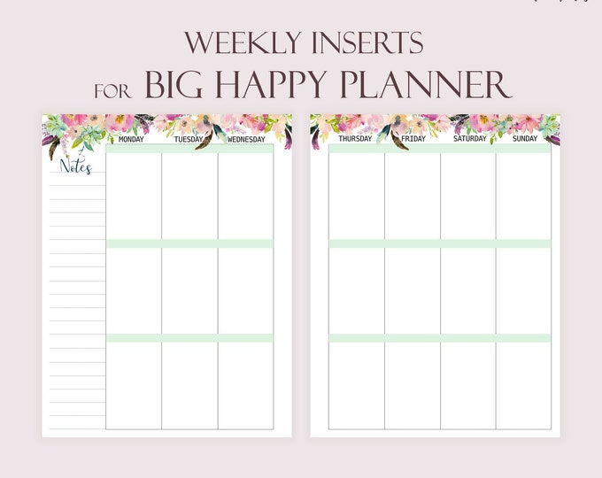 Weekly Planner Pages Printable To Do list made to fit Big Happy Planner Inserts Printable Weekly Tasks
