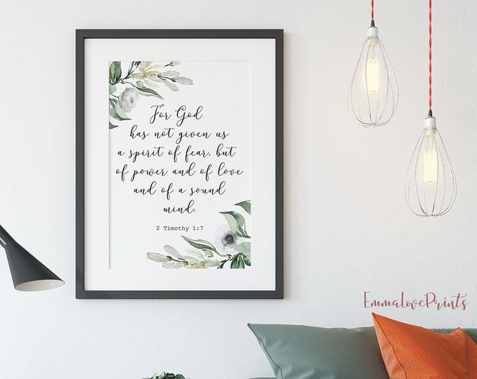 Scripture Prints, 2 Timothy 1 7, For God has not given us a spirit of fear, Olive Wreath, Bible Verse Prints OL-1