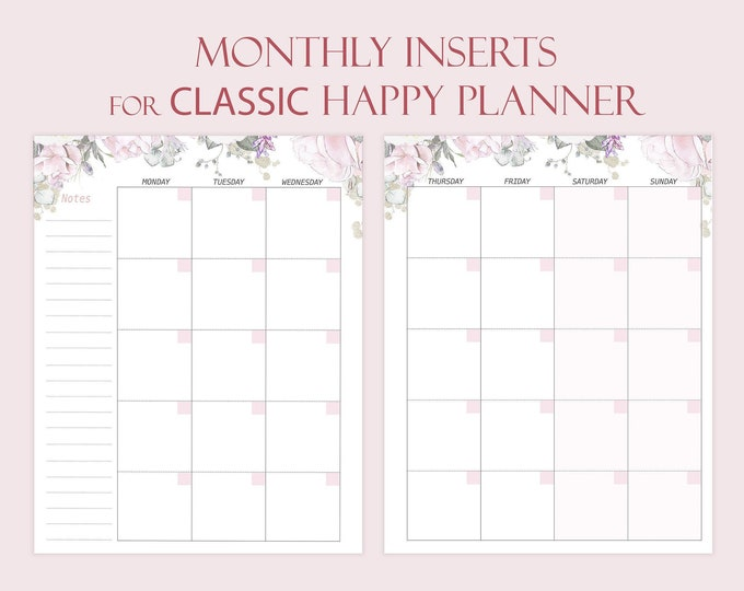 Monthly Planner Made to fit Happy Planner Inserts M02p Monthly Calendar 2020