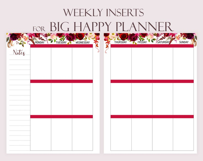 Weekly Planner Pages, Printable To Do list made to fit Big Happy Planner Inserts Printable Weekly Agenda