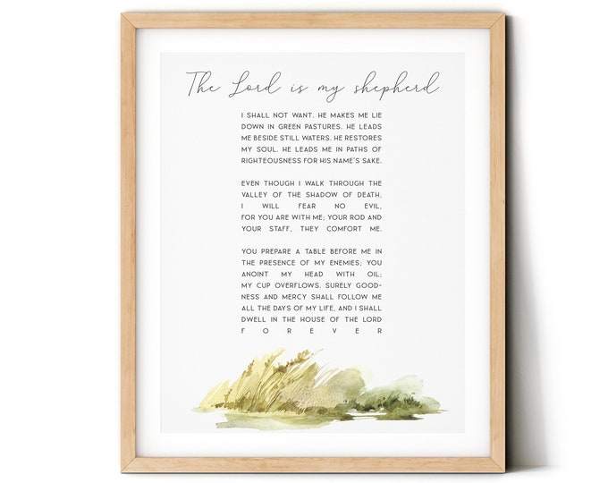 Bible Verse Prints, Psalm 23, Africa art print, The Lord Is My Shepherd, Scripture Prints. SA-1