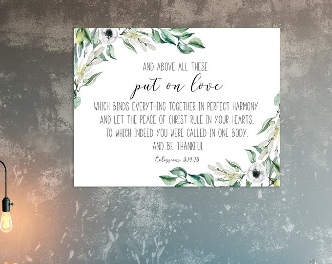 Bible Verse Wall Art, Put On Love, Colossians 3 13 15, Scripture Wall Art Prints OL-1