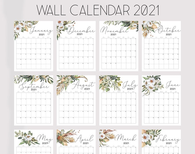 Printable Wall Calendar 2021, Watercolor Calendar 2021, Botanical Wall Calendar, African Art
