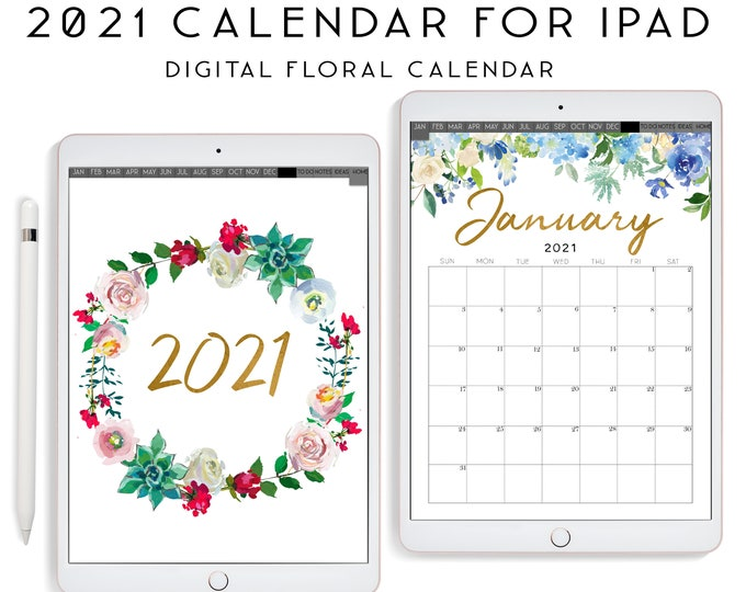Goodnotes Planner, iPad Planner, Notability Planner, Floral Calendar 2021, Botanical Calendar