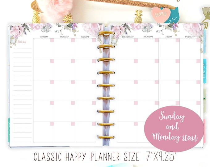 Monthly Planner Made to fit Happy Planner Inserts M02p Monthly Calendar 2021