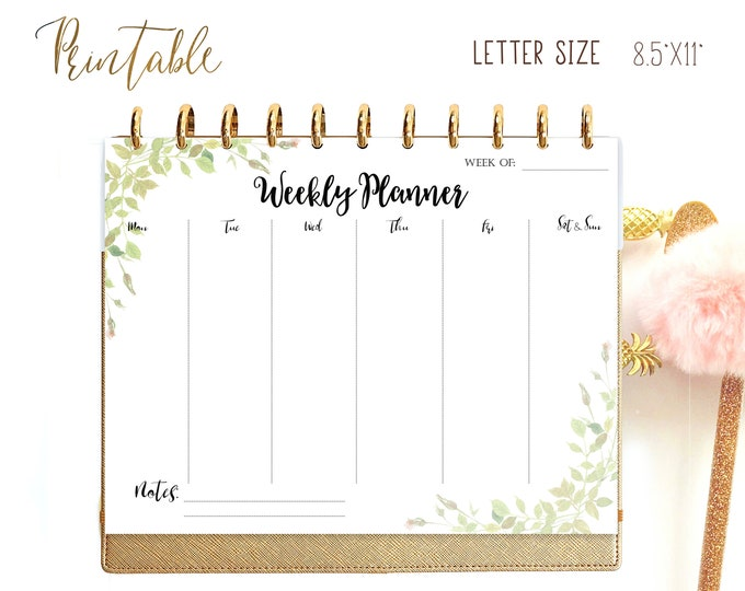 Weekly Planner Printable Leaves made to fit Big Happy Planner Inserts