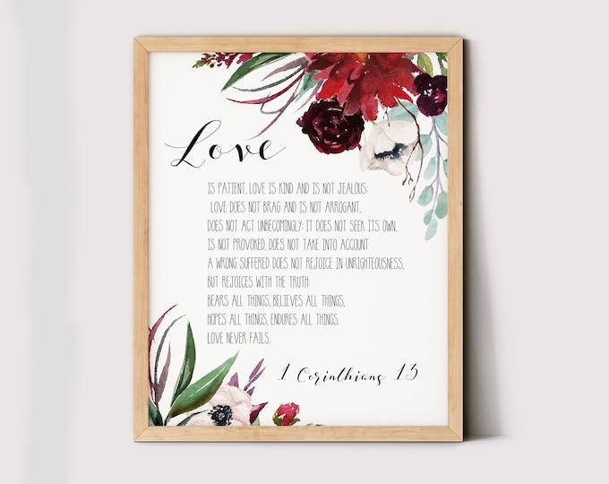Scripture Prints, 1 Corinthians 13, Love is patient, love is kind, Bible Verse Prints, Burgundy