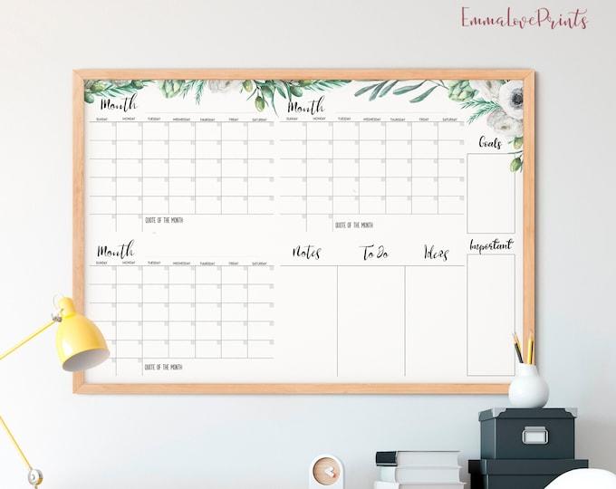 Large Wall Calendar, 36 x 24 Undated Calendar Printable, Calendar Memo Board