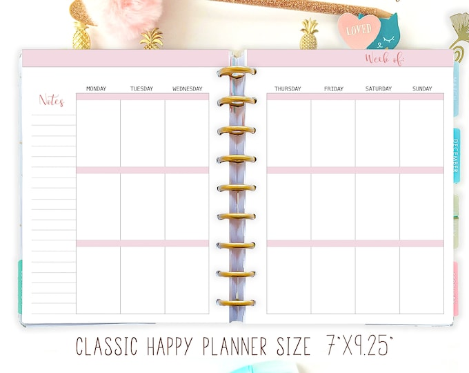 Happy Planner Inserts Printable Weekly Insert Refills Mambi Planner Weekly Classic Happy Planner Refills Create 365 Refills Instant Download