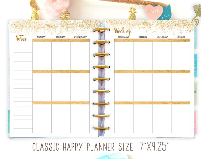 Weekly Planner Pages for Happy Planner Insert, fit Classic Happy Planner
