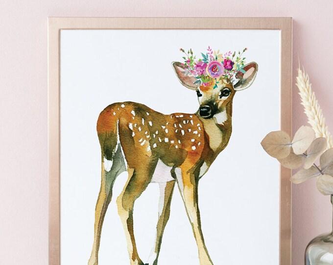 Baby Deer Print, Printable Nursery Art, Baby Animal Floral Art, woodland animals wall decor
