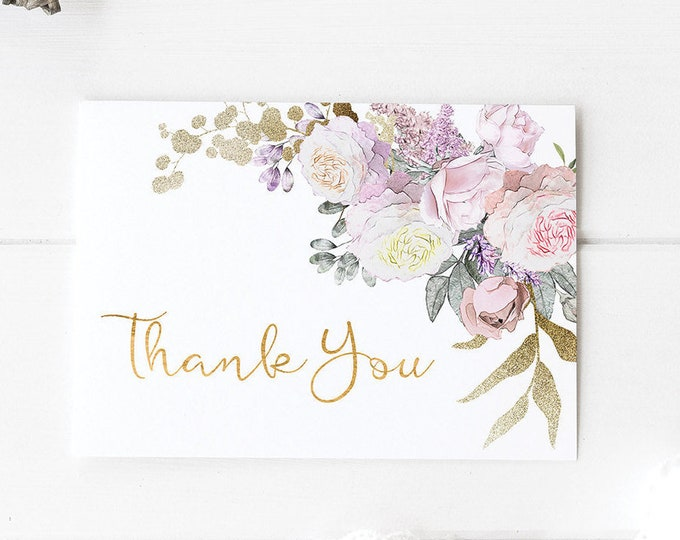 Printable Wedding Thank You Card Baby Shower Thank Yous Card Wedding Favor Thank You Note Floral Thank you Boho Rose Gold Card RG-1
