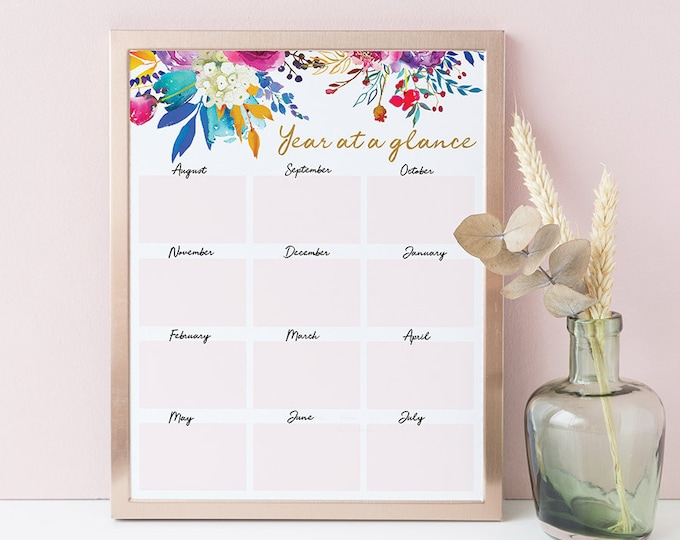 Big Happy Planner Printable Insert Year at a Glance Calendar Teacher Planner School Planner Calendar Floral Wall Art Print Instant Download